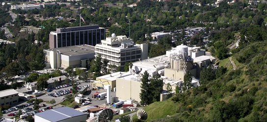 Photograph of JPL buildings: At the Jet Propulsion Laboratory (JPL), NASA is undertaking a major effort to remove chemicals from the groundwater beneath JPL and from beneath areas adjacent to JPL.